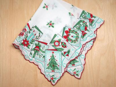 Vintage Inspired Holiday Card Print Hankie