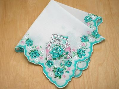Vintage Inspired Teal Birthday Print Hankie