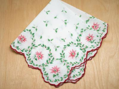 Vintage Inspired Holiday Poinsettia Print Hankie
