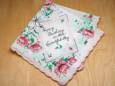Vintage Inspired Happy Birthday Message Print Hankie