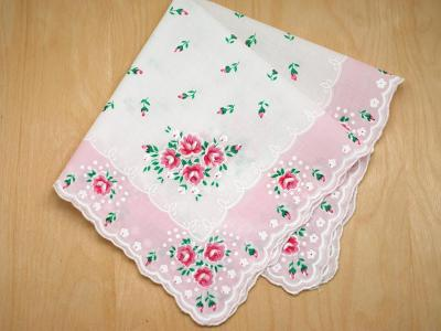 Vintage Inspired Blush Rose Print Hankie