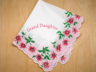 Vintage Inspired Grand Daughter Print Hankie with Daisies
