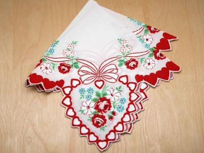 Vintage Inspired Valentines Rose and Ribbon Print Hankie