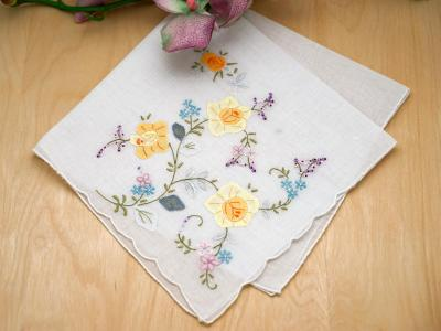 Set of 3 Yellow Flower Bridal Handkerchiefs