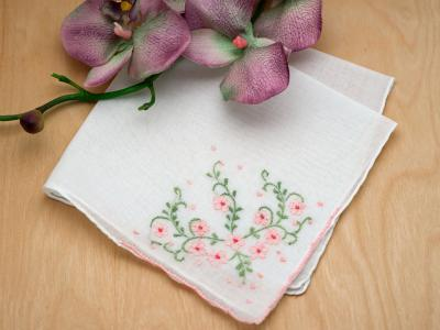 Set of 3 Pink Floral Vine Embroidered Handkerchiefs