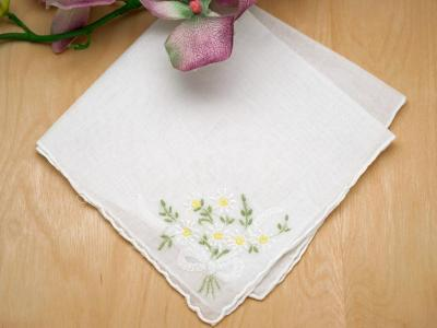 Set of 3 White Daisy Bouquet Embroidered Handkerchiefs