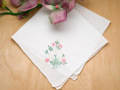 Set of 3 Pink and White Daisy Design Handkerchiefs