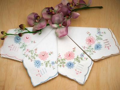 Set of 12 Mix Daisy Embroidered Handkerchiefs