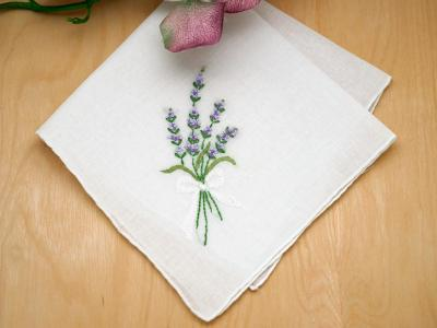 Set of 3 Lavender Embroidered Handkerchiefs