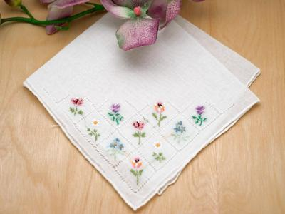Set of 3 Flower Bouquet Embroidered Handkerchiefs