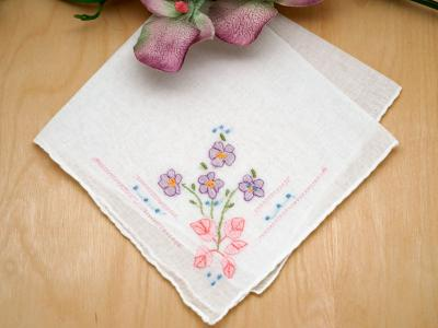 Set of 3 Violet Embroidered Ladies Handkerchiefs