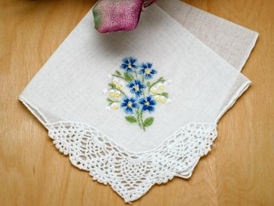 Set of 3 Something Blue Daisy Bridal Handkerchiefs