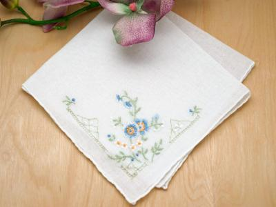 Set of 3 'Something Blue' Flower Bridal Handkerchiefs