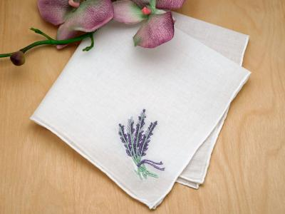 Set of 3 Embroidered Wildflower Handkerchiefs