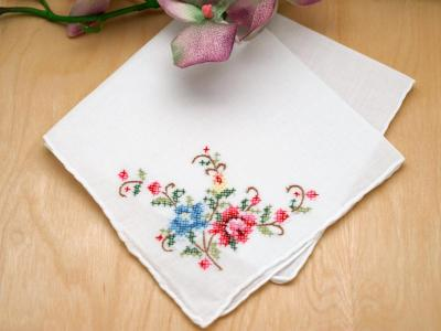 Set of 3 Cross Stitch Roses Embroidered Handkerchiefs