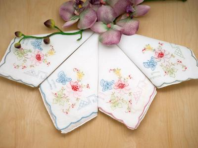Set of 12 Mix Butterfly Embroidered Handkerchiefs