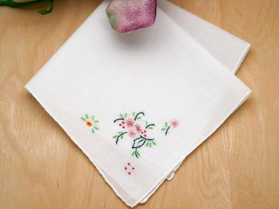 Set of 3 Holly Embroidered Handkerchiefs