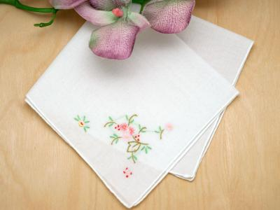 Set of 3 Small Floral Embroidered Handkerchiefs