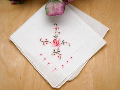 Set of 3 Pink Rose Embroidered Ladies Handkerchiefs