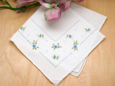 Set of 3 Blue Ribbon Rose Handkerchiefs