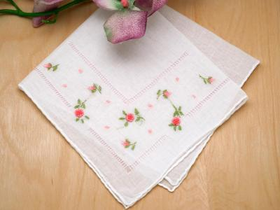 Set of 3 Pink Ribbon Rose Wedding Handkerchief