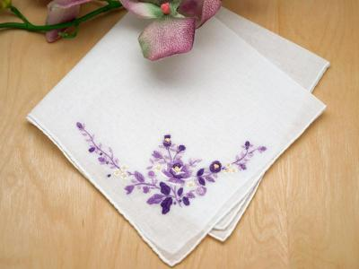 Set of 3 Purple Rose Wedding Handkerchiefs