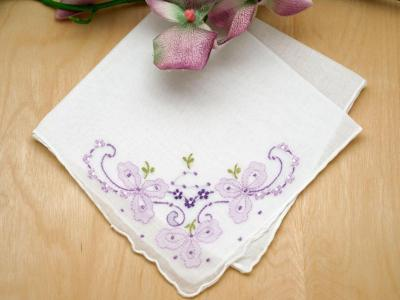 Set of 3 Purple Wedding Bows Handkerchiefs