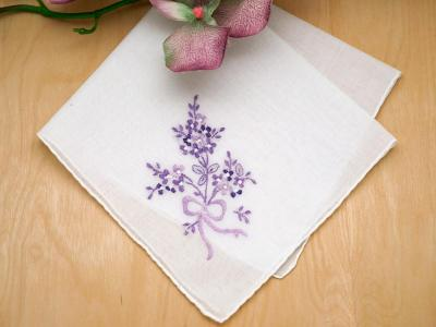 Set of 3 Purple Bouquet of Wild Flowers Handkerchiefs