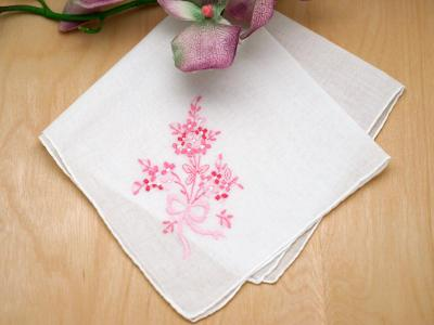 Set of 3 Pink Bouquet of Wild Flowers Handkerchiefs