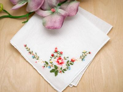 Set of 3 Bright Pink Rose Wedding Handkerchiefs