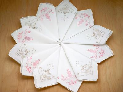 Set of 12 Pink and Tan Embroidered Handkerchiefs