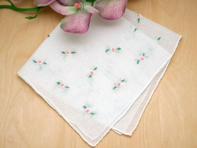 Set of 3 Pink Ribbon Rose Ladies Handkerchiefs