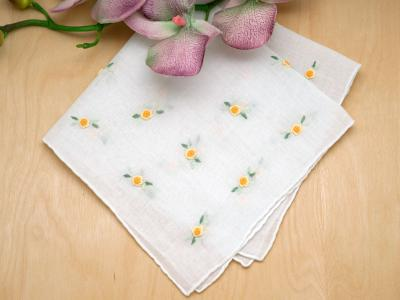 Set of 3 Yellow Ribbon Rose Ladies Handkerchiefs