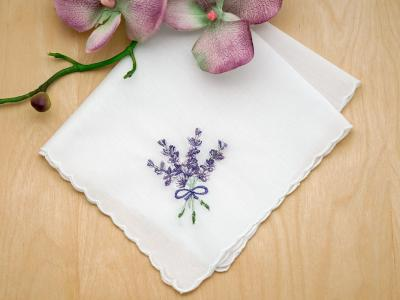 Set of 3 Wild Lavender Embroidered Handkerchiefs