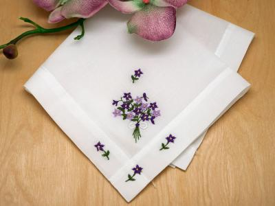 Set of 3 Ladies Handkerchiefs with Violets