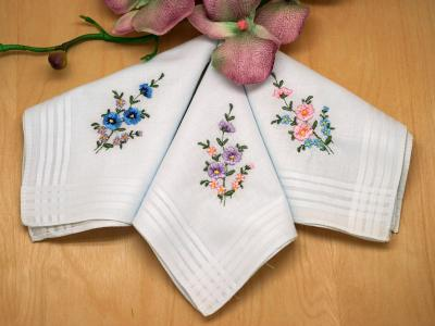 Set of 3 Pansies and Striped Ladies Handkerchiefs