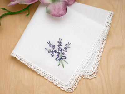 Set of 3 Lavender and Cluny Lace Handkerchiefs