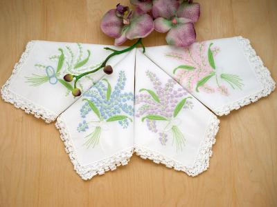 Set of 4 Colorful Lily of the Valley Hankies with Lace