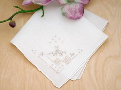 Set of 3 Tan Embroidered Handkerchiefs