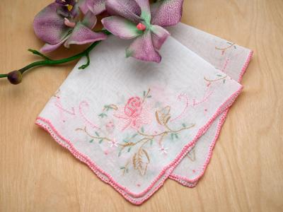 Set of 3 Pink Roses Flower Embroidered Handkerchiefs