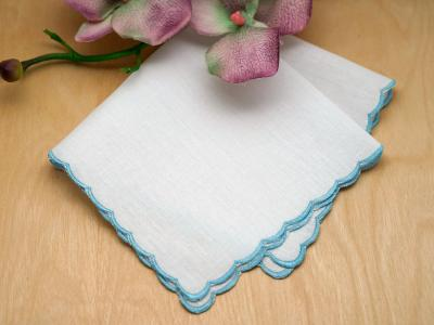 Blue Scallop Edge Wedding Handkerchief