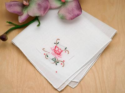Set of 3 Blossoming Rose Embroidered Ladies Handkerchiefs