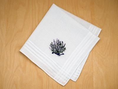 Set of 3 Deep Purple Wildflowers Embroidered Handkerchiefs