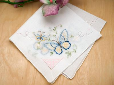 Set of 3 Something Blue Butterfly Wedding Handkerchief