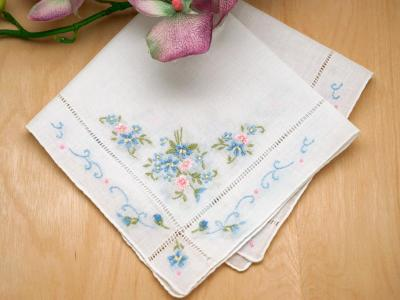 Floral Forget-Me-Not Wedding Handkerchief