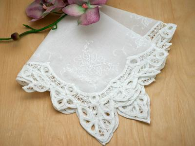 White Battenburg Lace Floral Wedding Handkerchiefs