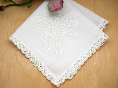 Set of 3 White Lily of the Valley Hankies w/ Cathedral Lace