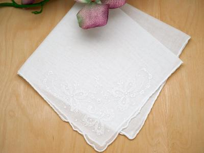 Set of 3 White Wedding Bows Handkerchiefs