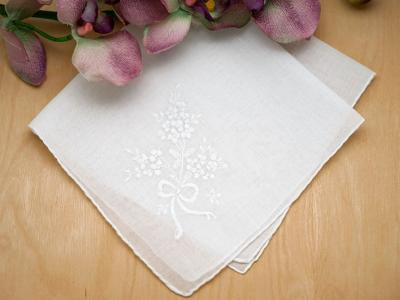 Set of 3 White Bouquet of Wild Flowers Handkerchiefs