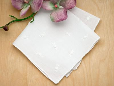 Set of 3 White Ribbon Rose Ladies Handkerchiefs
